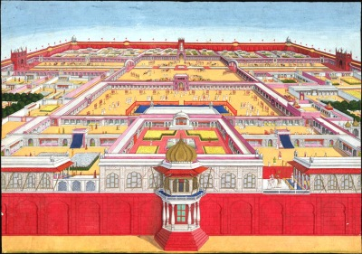 1785 view of the Red Fort from the east. In the foreground the Rang Mahal is on the left, the Khwabgah Jharoka in the centre and the Moti Masjid on the extreme right.